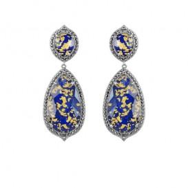 B.O Argent 925 (Lapis lazuli - feuilles d'or - Marcassites)