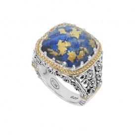 Bague Argent/Vermeil 925 (Lapis lazuli - Cristal - feuilles d'or - Marcassites)