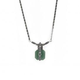 Collier en Argent 925 (Jade vert - Marcassites)