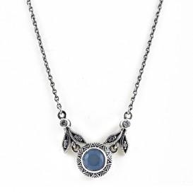 Collier en Argent 925 (Jade bleu - Oxydes de zirconium)