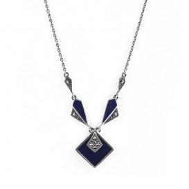 Collier en Argent 925 (Lapis lazuli - Marcassites)