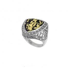 Bague en Argent 925 (Onyx - feuilles d'or - Cristal et Marcassites)